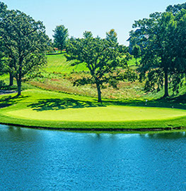 Hole 3 preview displays a beautiful body of water, backed by the hole surrounded by trees.