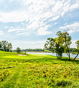 Hole 8 shows beautiful, natural landscaping surrounding the green with a body of water in the background, all under a calm sky.